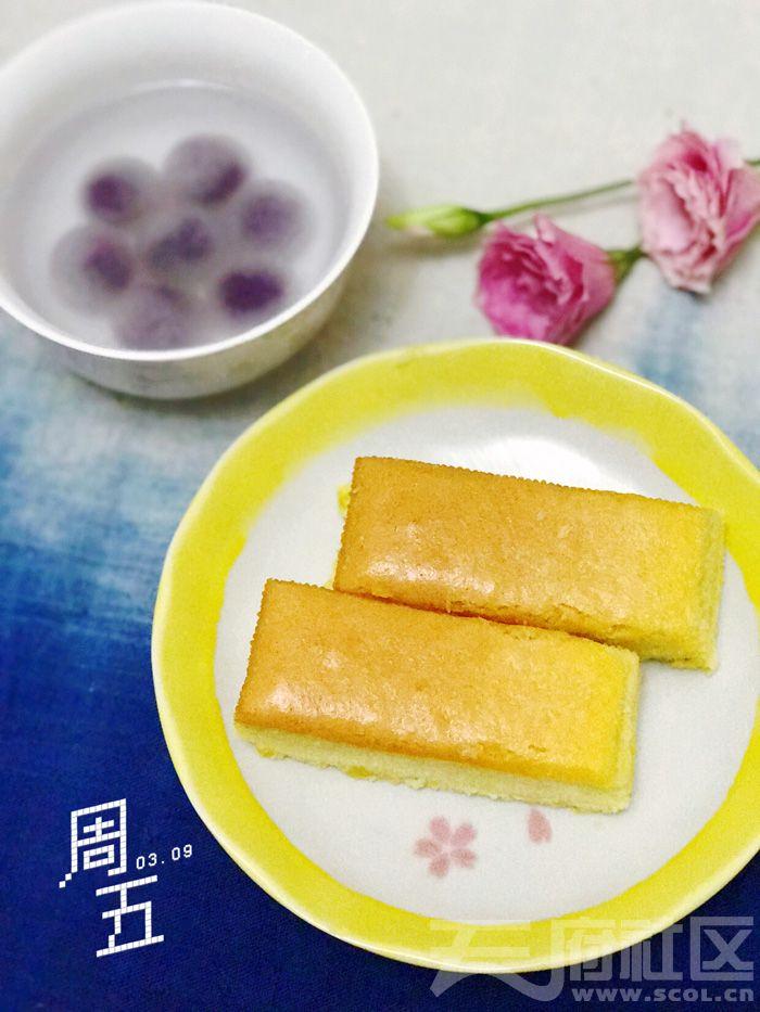 古早味蛋糕+紫薯汤圆