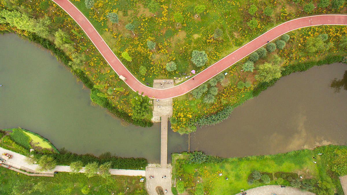 航拍青杠树村湿地公园