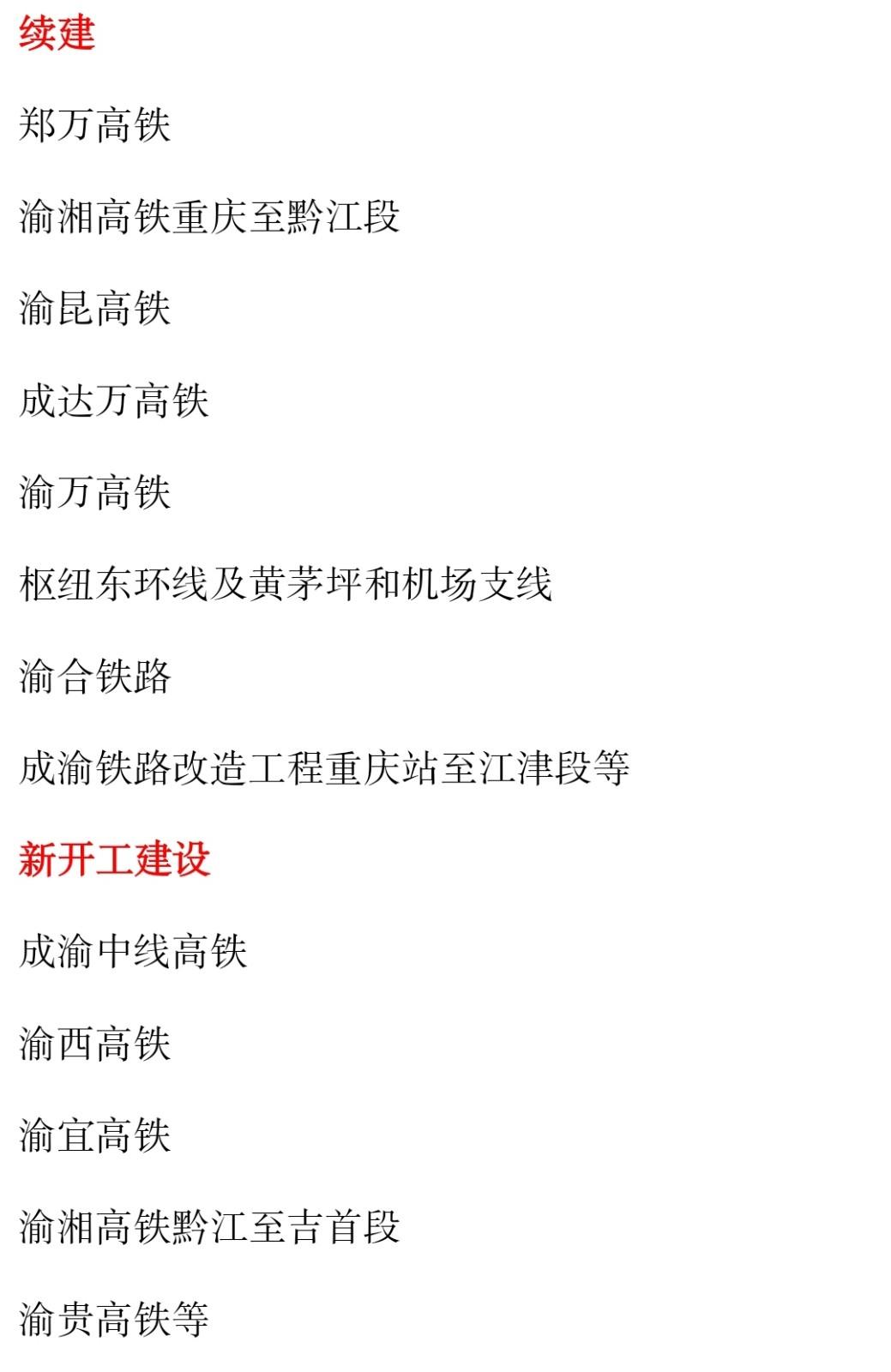 整理版重庆145综合交通铁路规划:续建8开工5